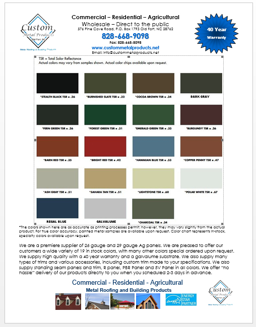 Color Chart for Custom Metal Products - metal roofing